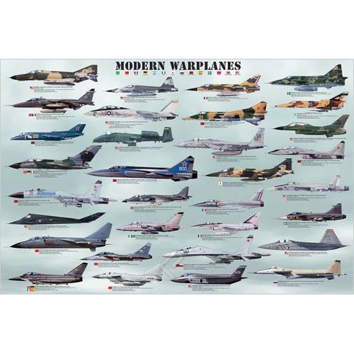 Modern Warplanes Poster  36x24 inches