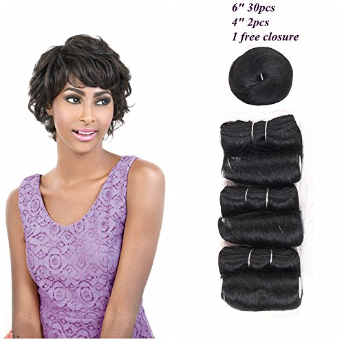 HAIR WAY Short Human Hair Weave 33 Pieces with Free Closure and Shower Cap for Black Women 33 Pieces 100% Remy Human Hair Extension Short Bump Weave Full Head Set #1B