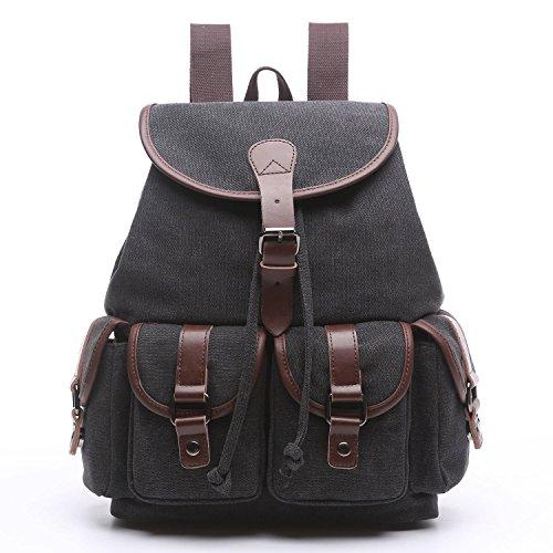 Women Canvas Backpack Purse Vintage Travel Rucksack for Teenager Girls College School Cute Slim Laptop Backpack(Black) ()