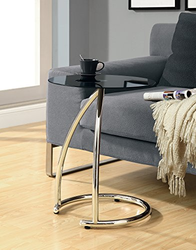Monarch Specialties Chrome Metal and Black Tempered Glass Accent Side Table