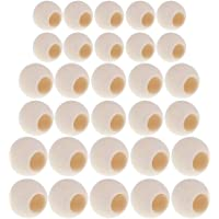 Baosity 30 Pack 20mm 25mm 30mm Natural Macrame & Craft Wood Beads Large Hole Woode Beads Balls for Crafts Toddlers…