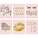 Inspirational Fashion Prints - Set of 6 (8x10) Pink and Gold Office Poster Wall Art Quotes