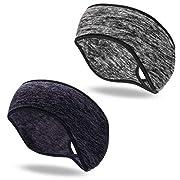 QKURT 2PCS Fleece Ponytail Headband, Lightweight Winter Headband Ear Muff Polar Sport Band for Women Running Yoga Skiing…