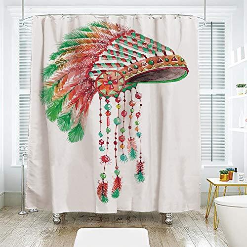 scocici DIY Bathroom Curtain Personality Privacy Convenience,Feather,Tribal Chief Costume Headdress Native American Culture Ethnicity Symbol Decorative,Vermilion Orange Green,108.2