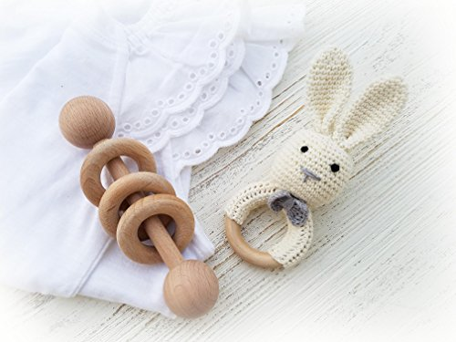 Natural Wooden Baby Toys Cotton Crochet Bunny Teething Ring Teether and Rattle Montessori Inspired Newborn Unisex Baby Shower Gift