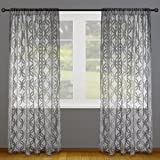 "DII Elegant Decorative Sheer Curtain, Panels, Window Treatments or Drape, For Small Windows, in Living Room, Kitchen, Bedroom, Kids Rooms, 50x63"" (Set of 2) - Gray Lattice"