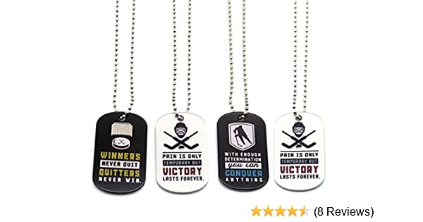 Hockey Motivational Dog Tag Necklaces Wholesale Bulk Pack of 1 Dozen Hockey Necklaces 12-Pack Party Favors Gifts Uniform Supplies for Hockey Players Fans Team Members