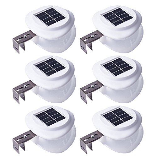Solar Gutter Lights Outdoor, Wireless Waterproof Night Lights for Garage Driveway Front Door Garden Path Patio Deck Yard Lighting (6 Pack) For Sale