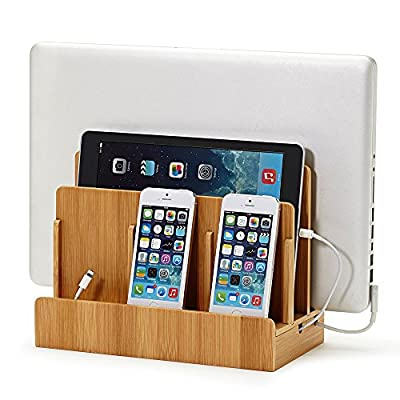 Great Useful Stuff® Wood Multi-device Charging Station and Cord Organizerfor Smartphones, Tablets and Laptops. Universal Compatibility with iPad, iPhone, Samsung, Android and all other devices by Great Useful Stuff