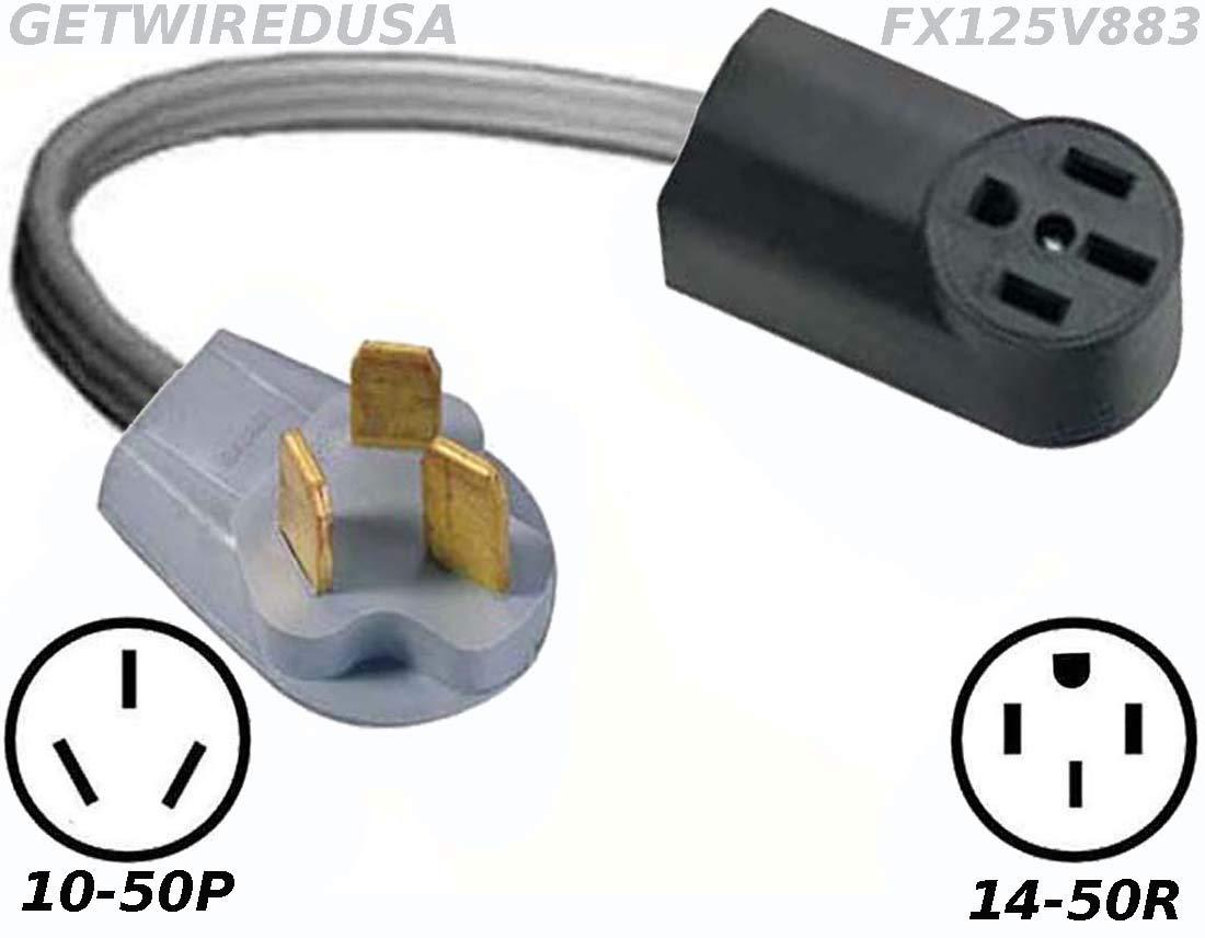 Power Converter, 10-50P Stove Oven Range 220/250V Male Plug To TT14-50R 110/125V RV Travel Trailer Camper Motor Home Female Socket Receptacle Outlet Cable Electric Cord Adapter FX125V883