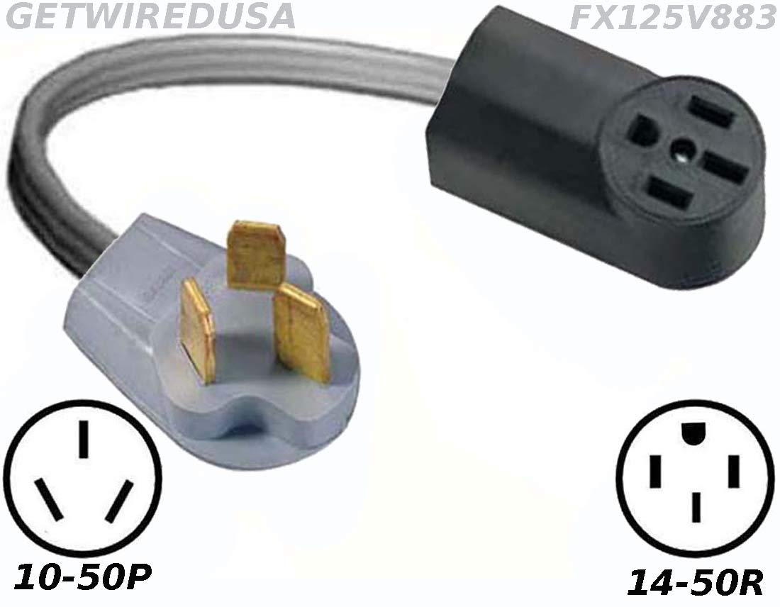 Power Converter, 10-50P Stove Oven Range 220/250V Male Plug To TT14-50R 110/125V RV Travel Trailer Camper Motor Home Female Socket Receptacle Outlet Cable Electric Cord Adapter FX125V883 by getwiredusa