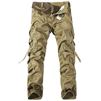 AKARMY Men's Cotton Casual Military Army Combat Work Cargo Pants with 10 Pockets at Men's Clothing store