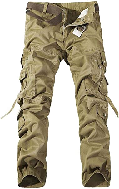 Mens Military Cotton Pocket Stright Loose Camouflage Casual Cargo Hiking Pants