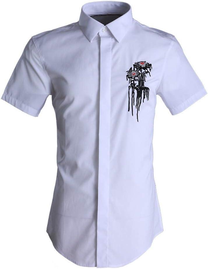 Camisa de vestir slim fit para hombre Camisa de verano de manga corta para hombre Camisas de trabajo casual Camisa de vestir con botones Hombre adolescente de la universidad Camisa lisa de