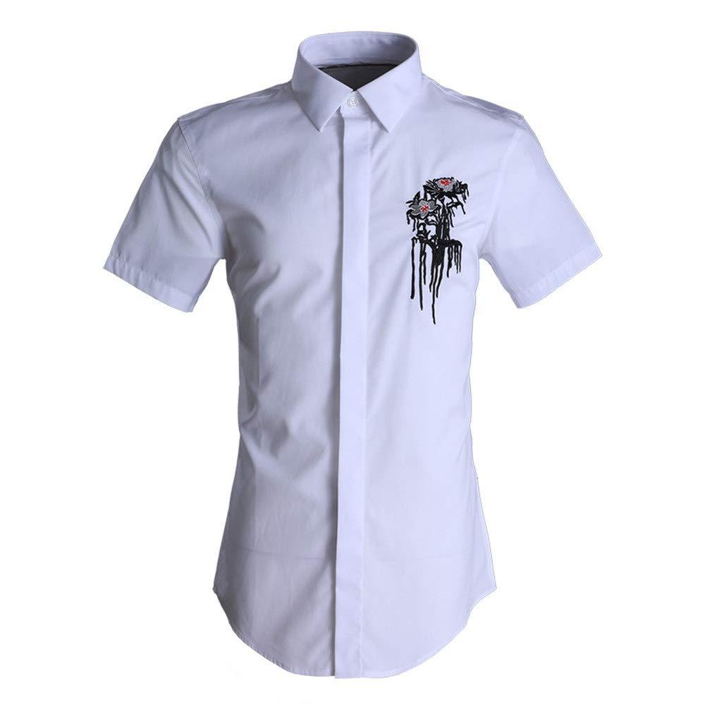 Blanc grand AFCITY-Shirt Chemises Hommes Décontracté, Chemises Décontracté pour Hommes d'été à Manches Courtes pour Homme d'affaires Chemise de Ville élégante (Couleur   Noir, Taille   XXL)