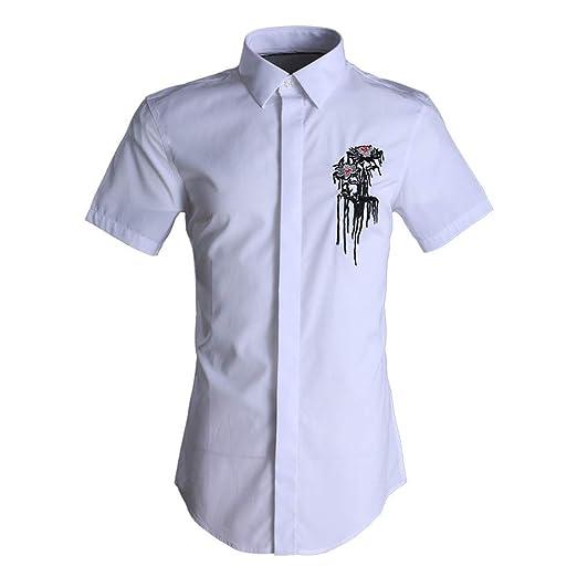 Asdflina - Camisa Informal de Manga Corta para Hombre con Botones ...
