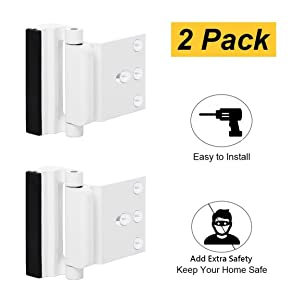 TOYFUL 2 Pack Door Reinforcement Locks with 8 Screws, Home Security Door Lock for Toddler, Childproof Door Lock Night Lock Withstand 800 Lbs White