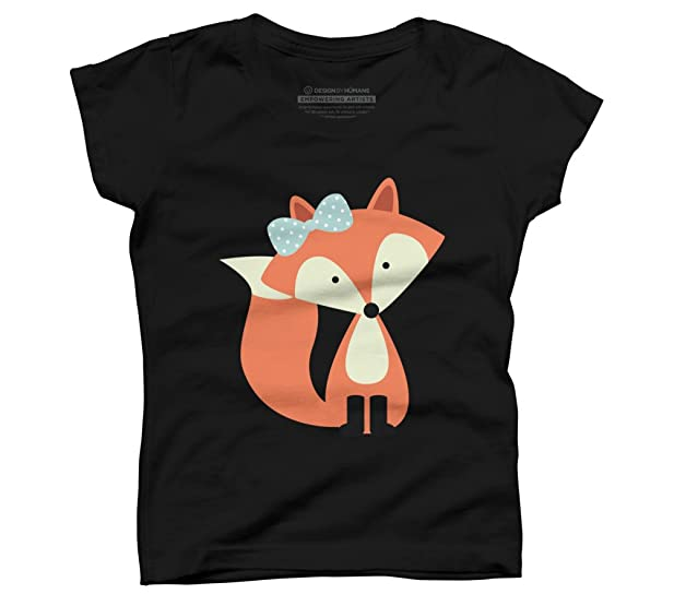 Design By Humans Girly Red Fox Girl's X-Small Black Youth Graphic T Shirt