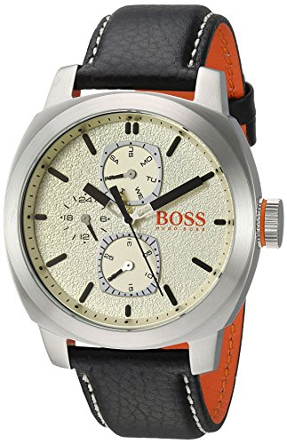 HUGO BOSS Men's 'CAPE TOWN' Quartz Stainless Steel and Leather Casual Watch, Color:Black (Model: 1550026)