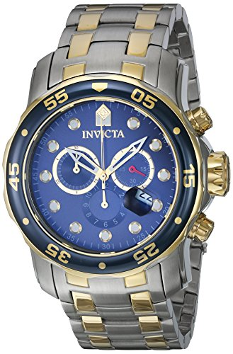 Steel Chronograph Divers Watch - Invicta Men's 0077 Pro Diver Chronograph Blue Dial Watch