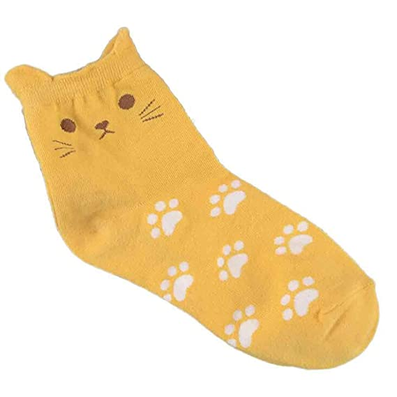 VJGOAL Moda casual Cat Footprints Calcetines Calcetines de algodón lindos(Tamaño del niño, Amarillo