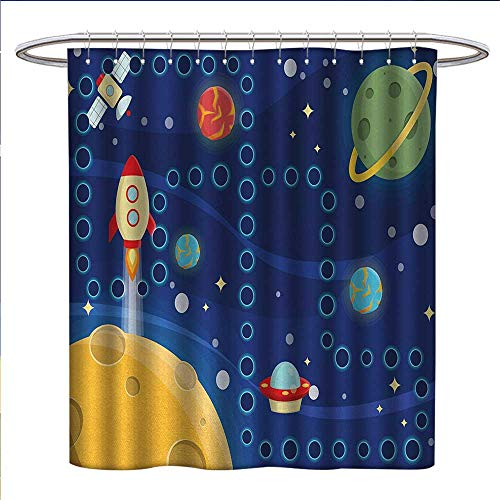 Kids Activity Shower Curtains Mildew Resistant Colorful Space Themed Activity Board Interplanetary Travel Racing in Cosmos Satin Fabric Bathroom Washable W69 x L75 Multicolor -