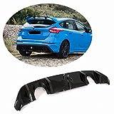 MCARCAR® Kit para Ford Focus RS Hatchback - Difusor de parachoques trasero de fibra de carbono 2016-2018 bajo la barbilla, alerón de labios, divisor de válvulas
