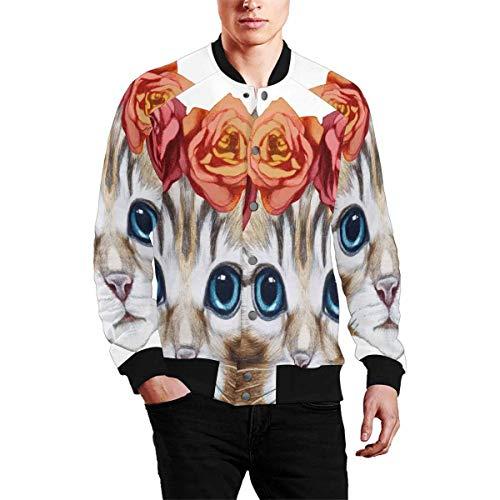INTERESTPRINT Men's Outerwear Coat Rib Collar Jacket Portrait of Cat with Floral Head Wreath ()
