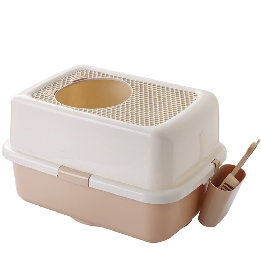 Top Entry Litter Box With Scoop And Barrel Cat Toilet Bowl Cat Litter Pan Easy To Clean LargeBrown
