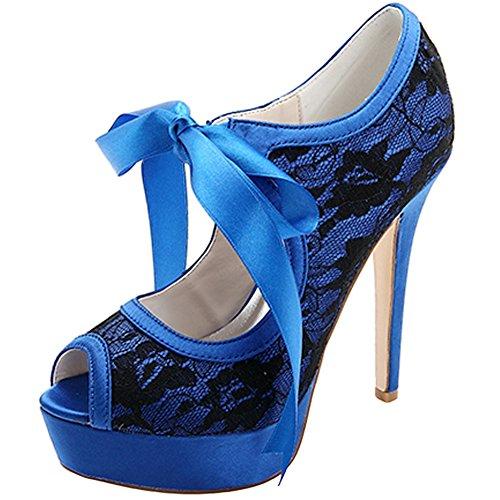 Loslandifen Scarpe Da Donna Con Tacco A Spillo In Pizzo E Plateau Con Tacco Alto Scarpe Da Sposa Blu