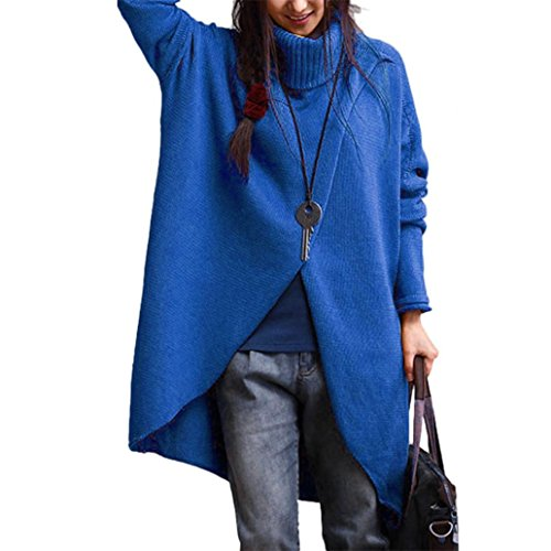Sunsee Women's Turtleneck Asymmetric Hem Long Sleeve Sweater (XXXXL, Blue)