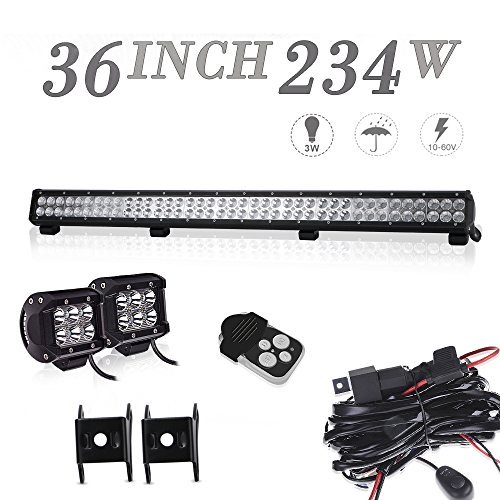 DOT Approved 36In Combo Led Light Bar + 4In Pods Cube Fog Lights For tractor truck polaris ranger rzr ford f150 f250 f350 toyota tacoma chevy silverado 4 wheeler honda pioneer On Roof/Bumper