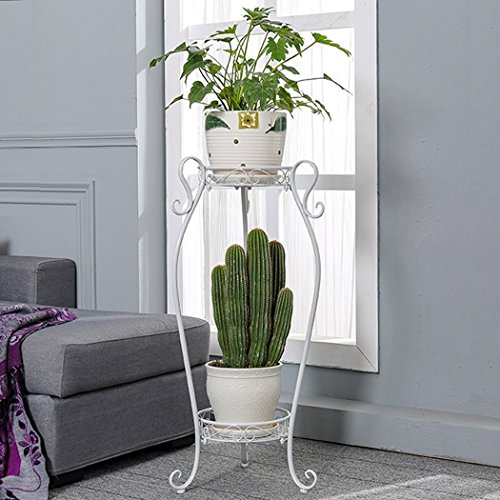 Echotang Metal 2-Tiered Plant Stand Decorative Garden Patio Standing Plant Flower Rack Flowepot Display Shelf (Color : White l) by Echotang