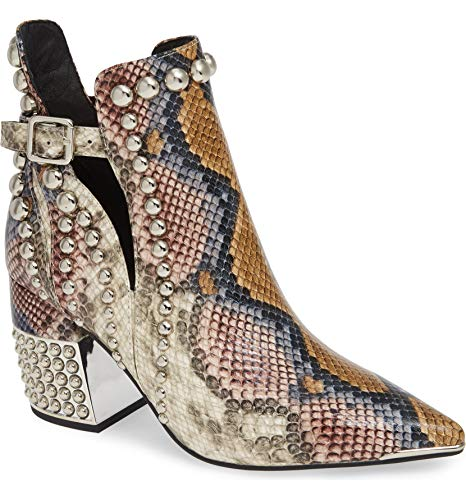 (Jeffrey Campbell Rylan-BH Grey Wine Snake Silver Snakeskin-Embossed Leather Boot (6))