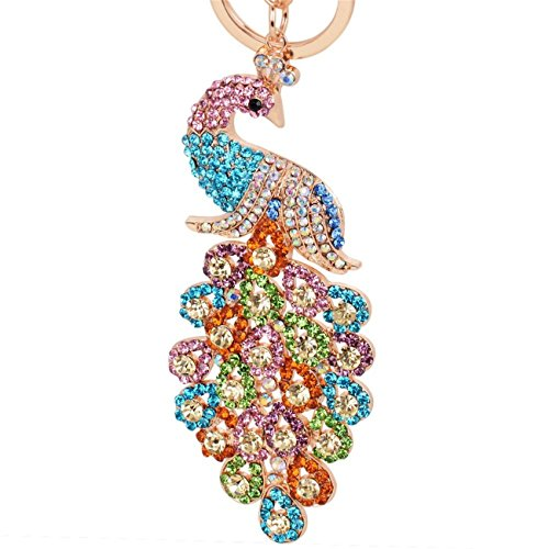 Reizteko Majestic Peacock Keychain Blingbling Crystal Charm for Feather Fans Key Chain Bird Animal Lovers Rhinestone Diamond Key Ring Holder Purse Bag Car Hanging Pendant Decoration Gift (Mix-colored) Diamond Purse Pendant
