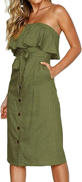 FSSE-Women Casual Sleeveless Flare Stripe Retro Evening Party Maxi Dress