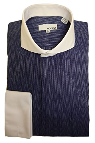 Modena Men's Herringbone Cutaway Collar French Cuff Dress Shirt - Blue (16 - 34-35)