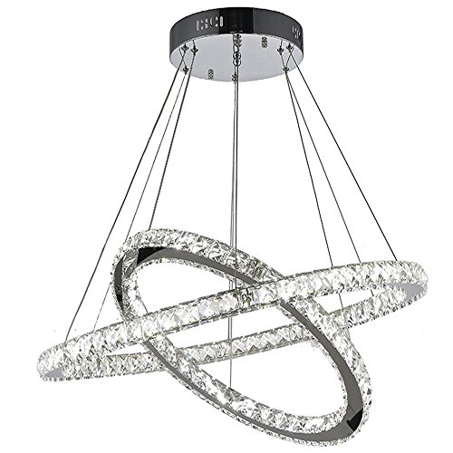 VALLKIN Led Crystal Pendant Lights Ceiling Chandeliers Lamps Modern Double Ring Design Fashion Lighting 54W CE FCC ROHS (2 Rings D50CM+ 70CM LED COOL WHITE)