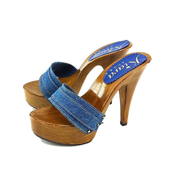 Kiara Shoes Zoccoli Denim Tacco 13 cm-K9101 Denim