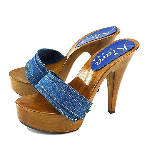 Tacco K9101 13 cm kiara Denim Denim Zoccoli shoes qxPw4Rv7