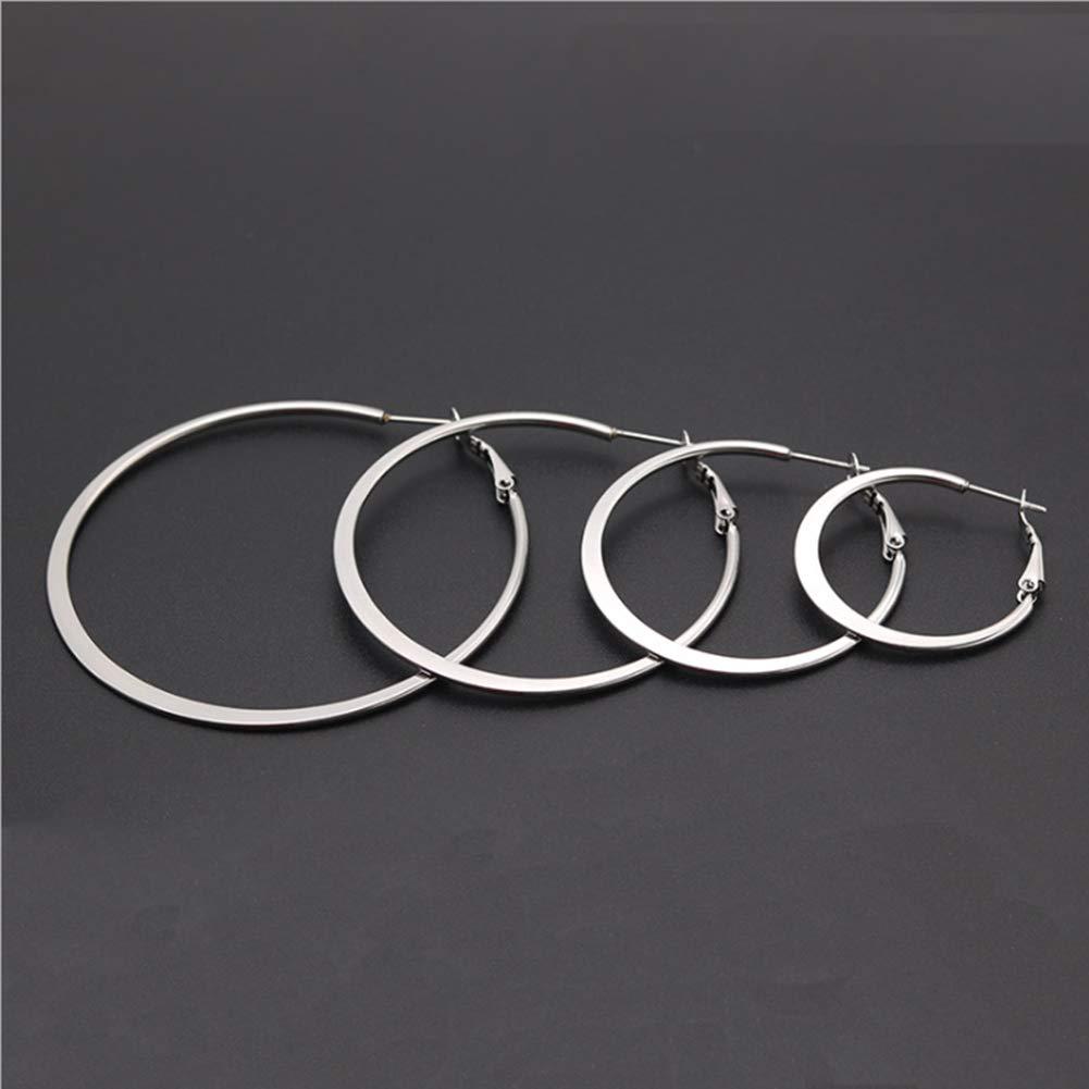 Stainless Steel Flattened Hoop Earrings Fashion Jewelry for Women Girls 30-60 mm Big Circle Earring