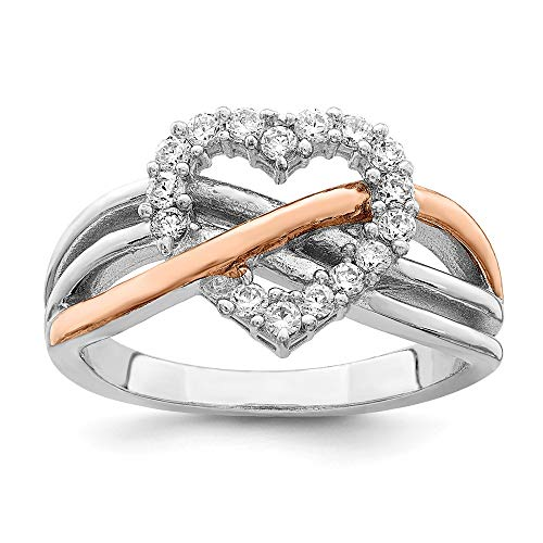 Infinity Rings CZ Rings Sterling Silver and Vermeil Polished CZ Heart Ring Size 7 ()