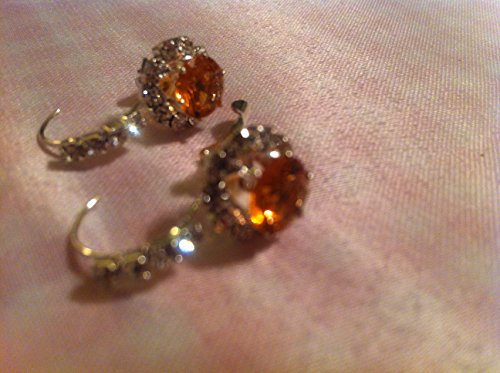 Brown Round Earrings for Women Made with Glass Crystals Lever-Back