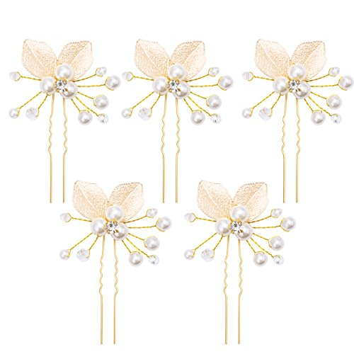 Gold Pearl Leaf - ANBALA 5 Pack Wedding Bridal Gold Leaf Hair Pins Hair Clips Golden Leaf Handmade Pearls and Clear Crystal Hair Clips Hair Accessories for Women Girls Party