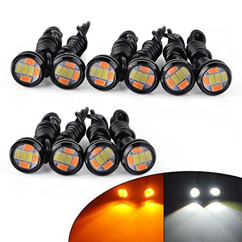 10PCS Eagle Eye LED 23mm 6SMD High Power Dual Color White Amber Switchback 12V Car Motor DRL Fog Light Motorcycle Daytime Running Tail Backup Light Eagle Eye Driving Lights