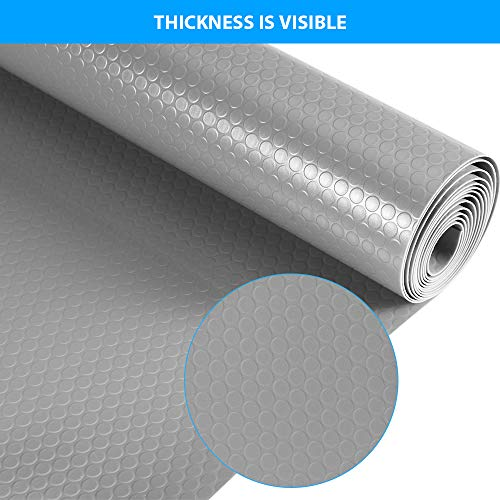 amorus 3 Rolls Plastic Shelf Liners for Kitchen Cabinet Drawer, Non Adhesive Refrigerator Mat for Shelves Table Dresser, 17.7 x 59 inches - Grey