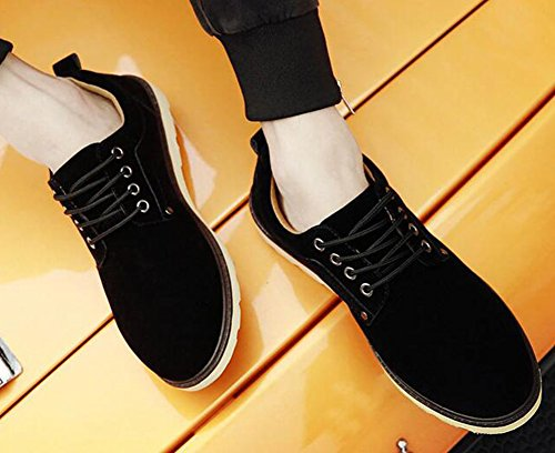 Top Trendy Suede Mens up Plain Casual Oxfords Summerwhisper Lace Flats Low Black Round Shoes Toe Faux 58tqxdWw