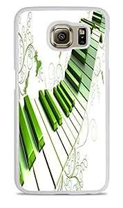 Green Piano Keys Artsy White Silicone Case for Samsung Galaxy S6 EDGE
