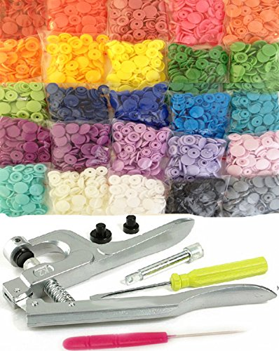 Cheap 500 Sets 25-Color KAMsnaps KAM Snap Press Pliers Plastic Snaps Starter Pack No-Sew Button Fast...