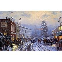 SomoArt Printed Poster Wall Art Home Decor HD Prints Oil Paintings on Canvas Christmas Thomas Kinkade Landscape Beautiful Art